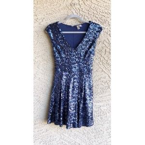 FOREVER 21 Navy Sequin Fit & Flare Party Dress